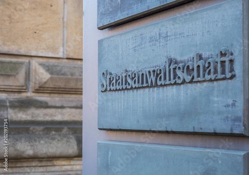 Staatsanwaltschaft Schild Fototapet