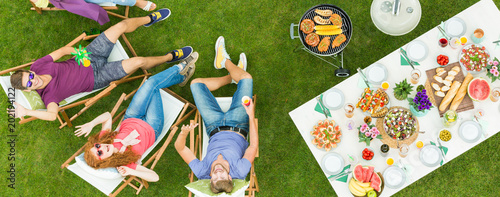 Drone selfie during barbecue