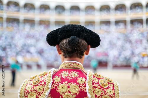 Bullfighter waiting for the fighting bull