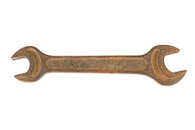 Old Rusty Metal Wrench On White Background