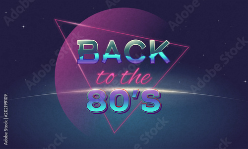 Retro Style Back To Eighties Banner Vintage Neon 80s Or