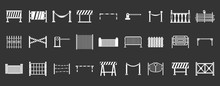 Barrier Icon Set Vector White Isolated On Grey Background