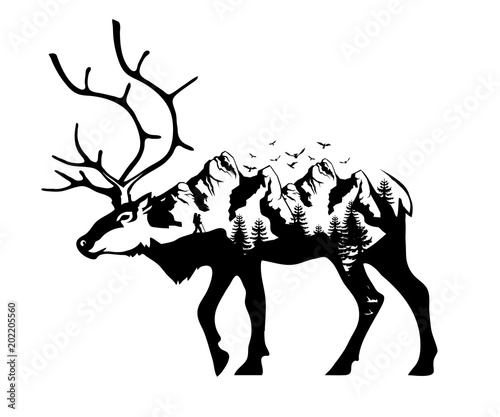 Deer double exposure. Wildlife for your design, outdoors symbol deer double exposure. Vector graphics to design.