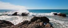 Waves Breaking On Rocky Coast ...