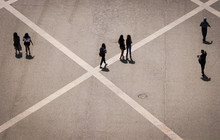 Aerial View Of A Group Of Peop...