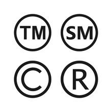 Copyright, Registered Trademark, Smartmark Icons Set. Vector Illustartion, Flat Design.