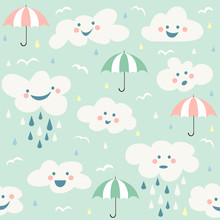 Cute Baby Cloud Pattern Vector...