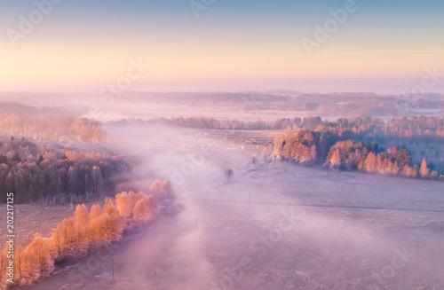 Staande foto Lavendel Spring foggy aerial landscape