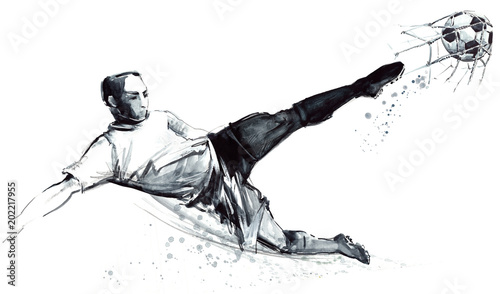 football player in action on white background Fototapet