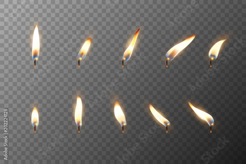 Foto Vector 3d realistic different flame of a candle or match icon set closeup isolated on transparency grid background