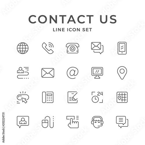 Fotografía  Set line icons of contact us