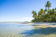 Scenic view of a remote Brazilian beach with shadows of palm trees falling on the shore in Bahia, Brazil