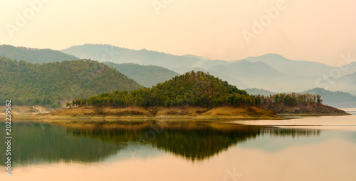 Printed kitchen splashbacks Reflection Landscape of mountains reflection in water