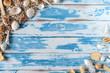 Sea shells frame on vintage blue wooden board