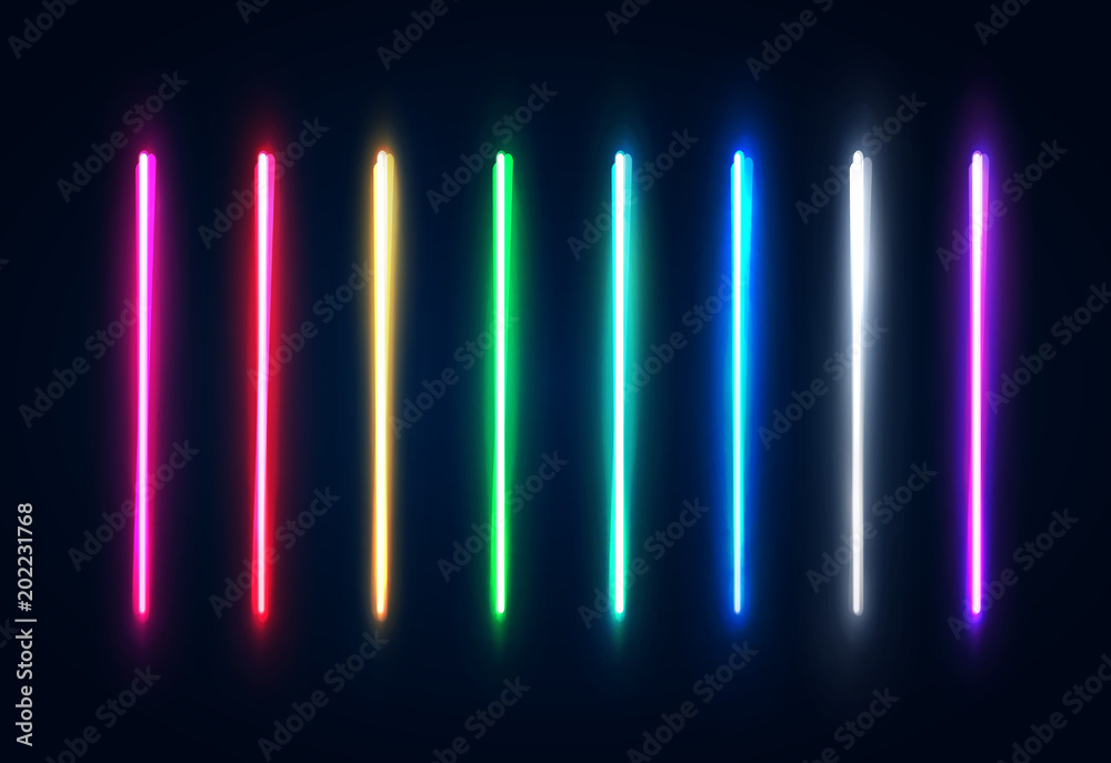 Fototapety, obrazy: Halogen or led light lamps elements pack for night party or game design. Neon light tubes set. Colorful glowing lines or borders collection isolated on dark blue background. Color vector illustration.