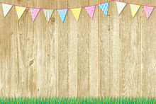 Colorful Bunting At Wooden Fence