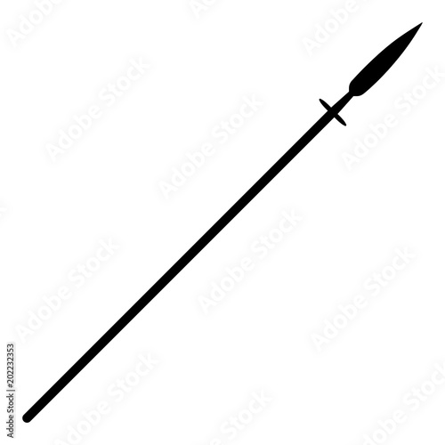 Wallpaper Mural Simple, flat, black spear silhouette. Isolated on white