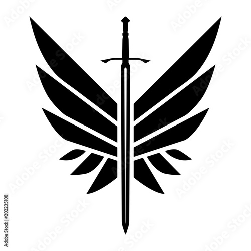 Winged Sword In Black And White Royalty Free Cliparts, Vectors, And Stock  Illustration. Image 68704936.