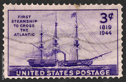 First steamship Savannah: First Steamship to Cross the Atlantic Postage Stamp, a Canvas Print