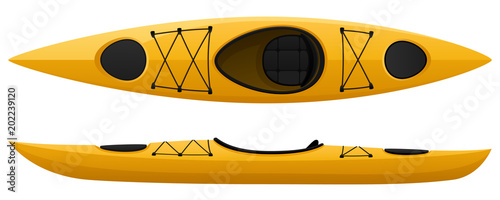 Fényképezés Vector illustration of a yellow kayak, with top and side views.