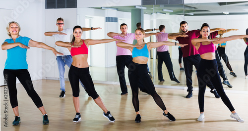 Fotografie, Obraz  friendly men and ladies dancing aerobics at lesson