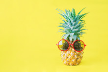 Pineapple With Red Sunglasses On Yellow Background - Summer Background