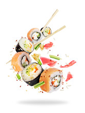 Different Fresh Sushi Rolls Wi...