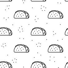 Seamless Taco Icon Pattern On ...