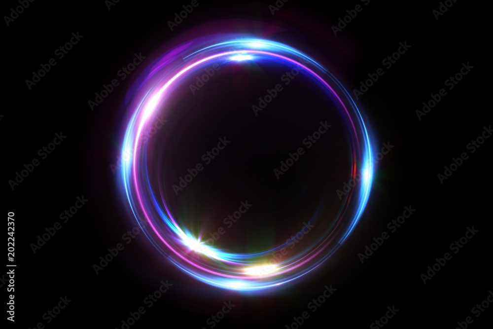 Fototapety, obrazy: Abstract 3d illustration neon background. luminous swirling. Glowing spiral cover. Black elegant. Halo around. Power isolated. Sparks particle.Space tunnel. LED color ellipse. Glint glitter.