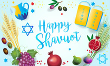 Happy Shavuot - Hebrew Text, Jewish Holiday Card, Torah, Traditional Seven Species Fruits, Barley, Wheat, Figs, Grape, Date Palm Fruit, Olives, Pomegranate Vector, Pentecost, Israel
