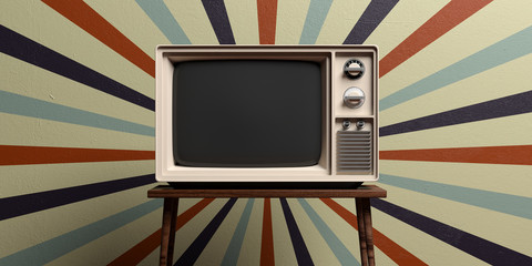 Retro old tv on circus vintage wall background. 3d illustration