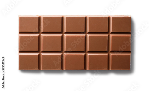 Top view of milk chocolate bar. Isolated on white background
