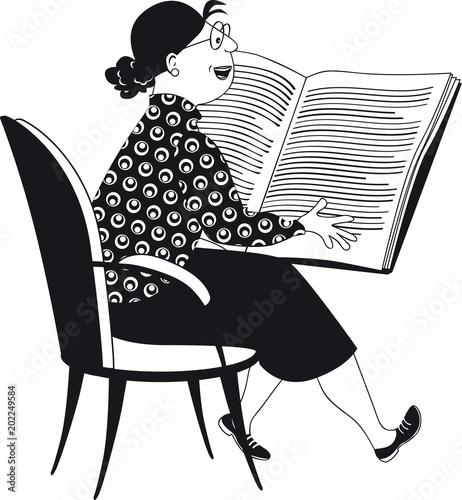 Mature woman, teacher or librarian, reading a big book, black vector EPS illustr Canvas Print