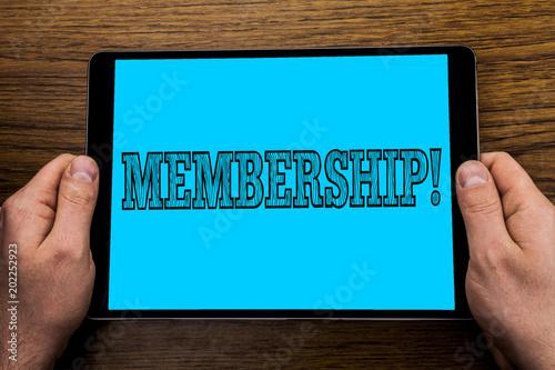 Fotografía  Text sign showing Membership