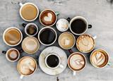 Fototapeta Coffie - Aerial view of various coffee