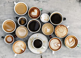 Fototapeta Kawa jest smaczna - Aerial view of various coffee