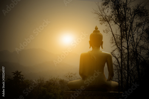 Tuinposter Boeddha Buddha Statue on the mountain with sunset background