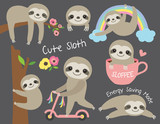 Fototapeta Fototapety na ścianę do pokoju dziecięcego - Vector illustration of cute baby sloth in various activities such as sleeping, riding bike, climbing and hanging from a tree.