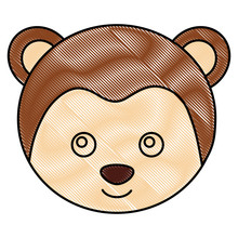 Cute Monkey Face Toy Adorable Vector Illustration Drawing