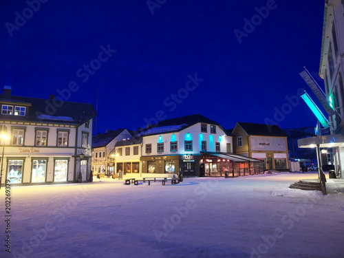 Scenery of the night city of Harstad in Norway