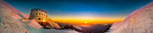 Sunset Panoramic View Of Refuge Du Gouter 3835 M, The Popular Starting Point For Attempting The Ascent Of Mont Blanc , France