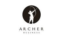 Elegant Silhouette Archer, Chinese Warrior With Bow Arrow Logo Design