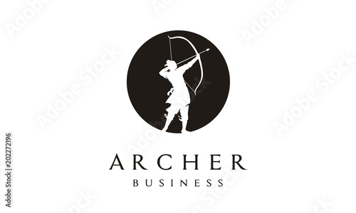 Slika na platnu Elegant Silhouette Archer, Chinese Warrior with Bow Arrow Logo design