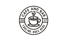 Coffee Cup Stamp For Cafe Labe...