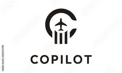 Initial C with Plane logo design inspiration Canvas-taulu