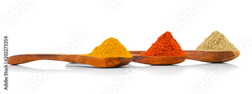 Photo  Indian Spices in Wooden Spoons Also Know as Red Chilli Powder, Turmeric Powder,