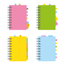 Closed Notebook, Personal Diary On A Spiral With Bookmarks And Paper For Notes. A Set Of Four Options With Bright, Attractive Covers. Colorful Flat Vector Illustration Isolated On White Background.