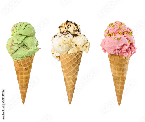 Set of ice cream in waffle cone isolated on white Wall mural