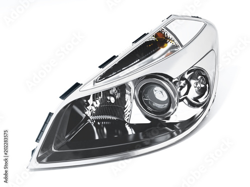 Obraz Left car headlight isolated on white background. 3D illustration - fototapety do salonu