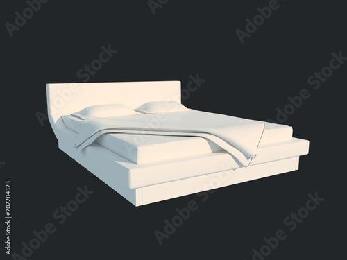 Fototapeta 3d rendering of a white bed isolated on a black dark background obraz na płótnie